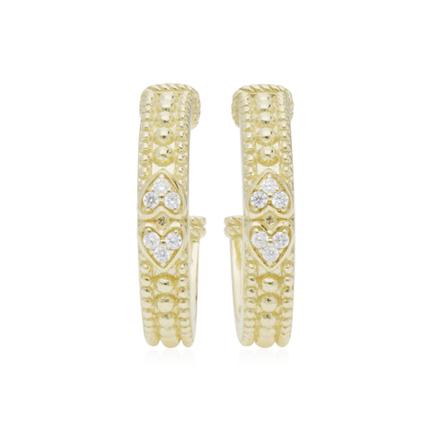 RIPKA Juliette Hoop Earrings with Double Pavé Hearts