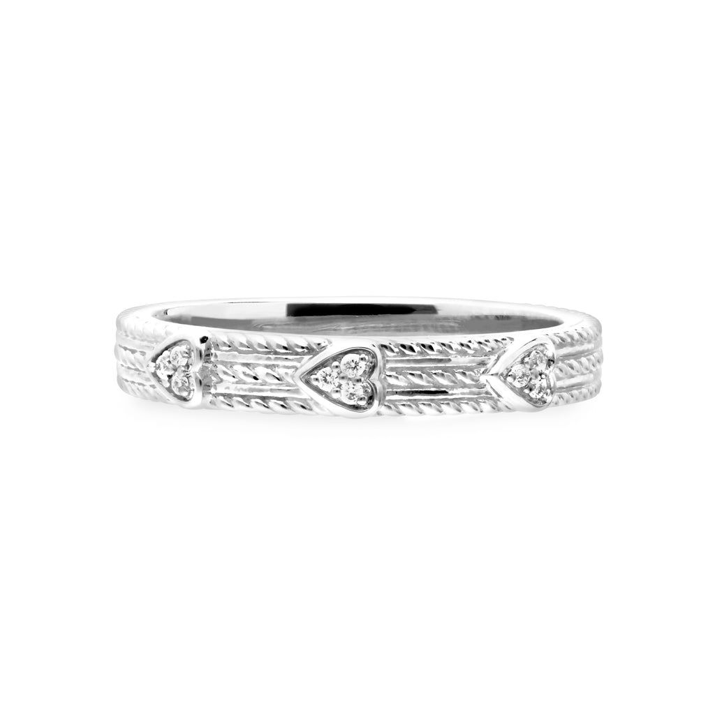 Little Luxuries Pavé Hearts Band Ring with Man Made Diamonds