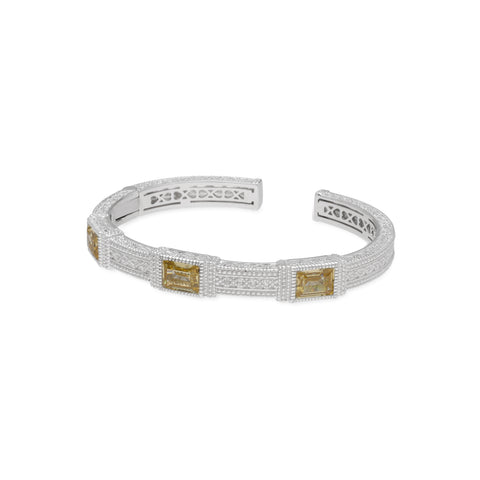 RIPKA Estate Cuff with Canary Crystal Large Baguettes & White Topaz Accents