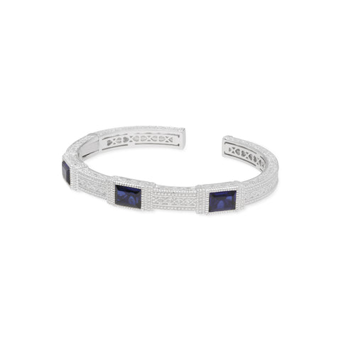 RIPKA Estate Cuff with Synthetic Blue Sapphire Large Baguettes & White Topaz Accents