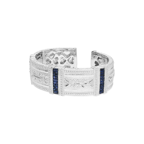 RIPKA Estate Wide Cuff with Synthetic Blue Sapphire Baguettes & White Topaz Accents