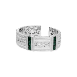 Estate Baguette Wide Cuff with Synthetic Green Quartz & White Topaz