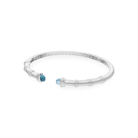 Estate Narrow Upside Down Cuff with Light Swiss Blue Topaz Tips