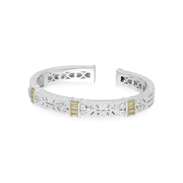 RIPKA Estate Cuff with Vertical Canary CZ Baguette Stations and White Topaz Accents
