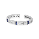 RIPKA Estate Cuff with Vertical Synthetic Blue Sapphire Baguette Stations and White Topaz Accents