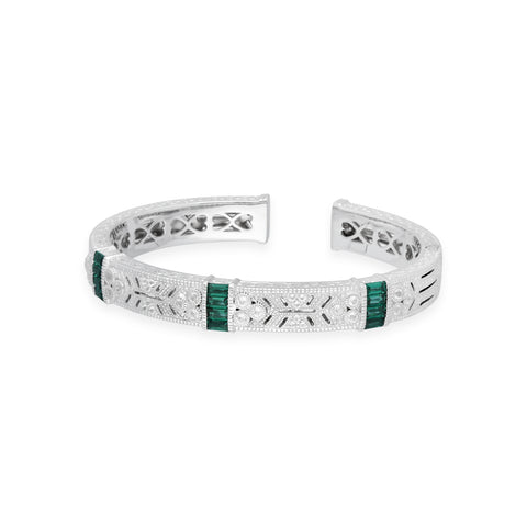 RIPKA Estate Cuff with Vertical Synthetic Green Quartz Baguette Stations and White Topaz Accents