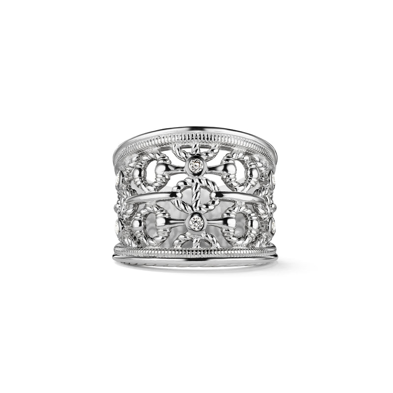Vienna Wide Band Ring with Cultured Diamonds