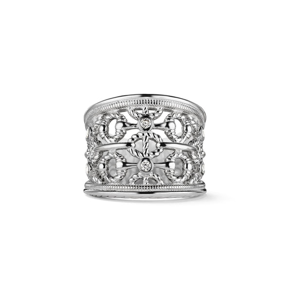 Vienna Wide Band Ring with Diamonds