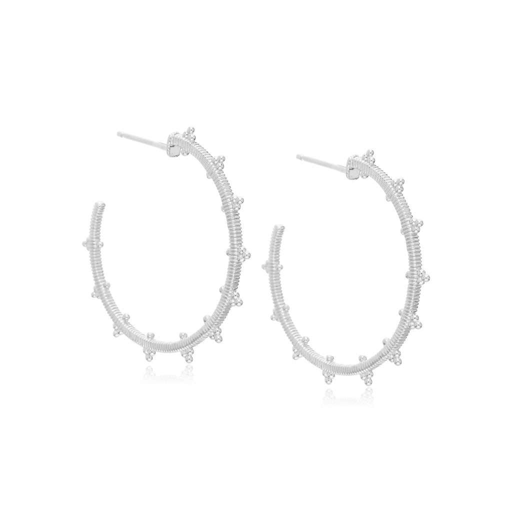 Little Luxuries Large Berge Hoop Earrings with Bead Details