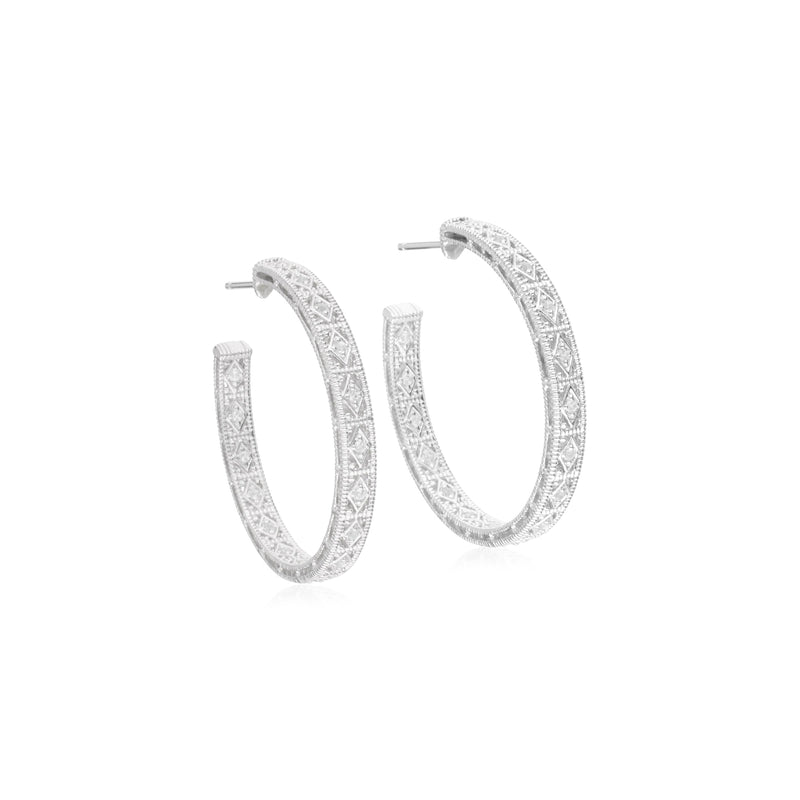Estate Large White Topaz Filigree Hoop Earrings