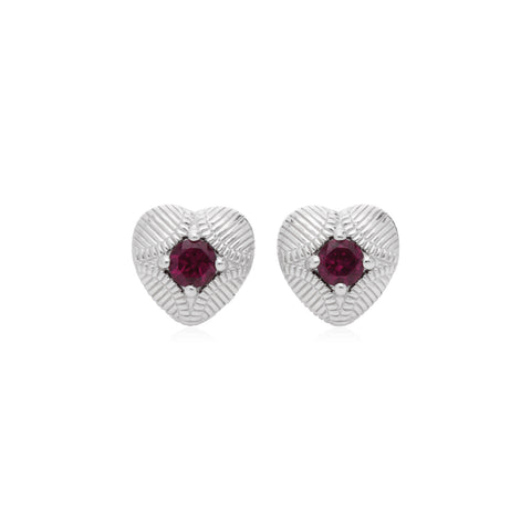 RIPKA La Petite Heart Stud Earrings with Rhodolite Center