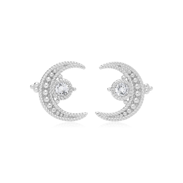 Little Luxuries White Topaz Moon Stud Earrings