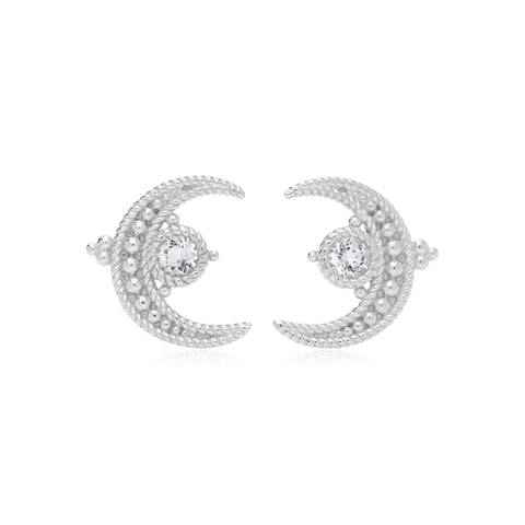RIPKA Lucky White Topaz Moon Stud Earrings