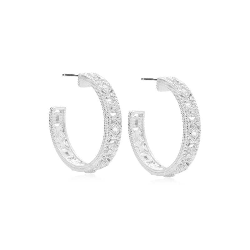 Estate White Topaz Filigree Hoop Earrings