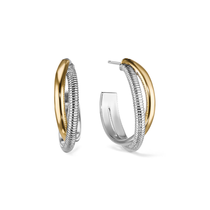 Eternity Round Hoop Earrings with 18K Gold