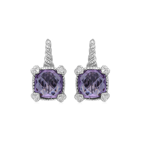 RIPKA La Petite Amethyst Drop Earrings with White Topaz Heart Prongs