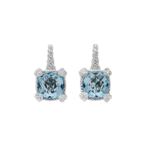 RIPKA La Petite Blue Topaz Drop Earrings with White Topaz Heart Prongs