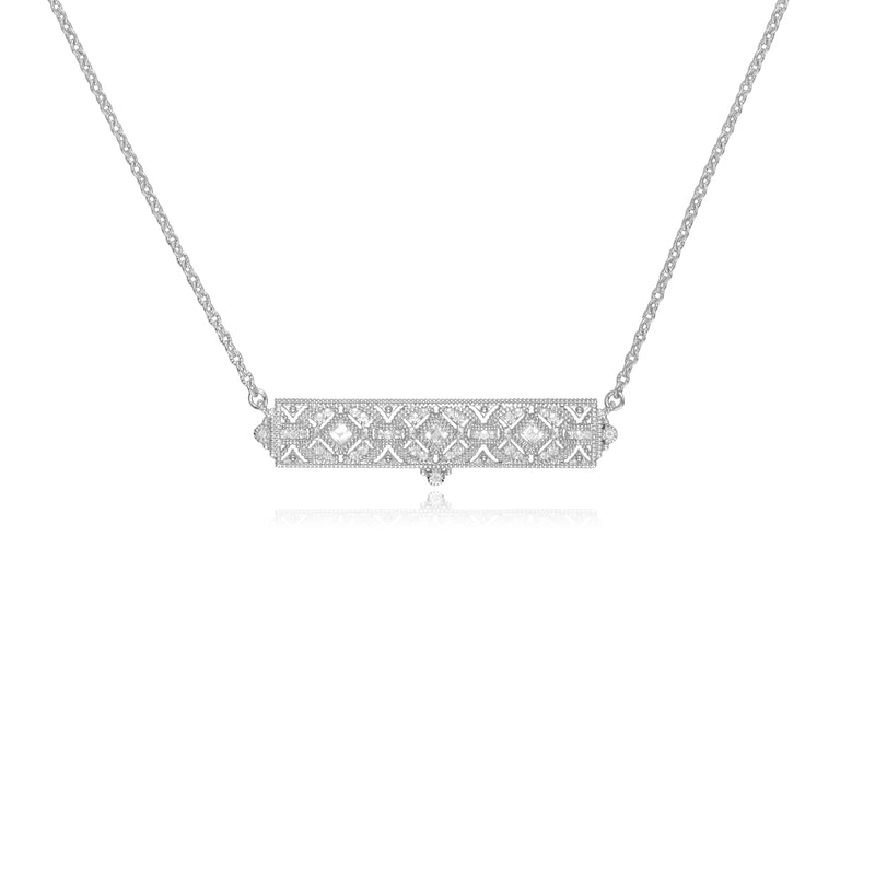 Estate White Topaz Filigree Bar Necklace