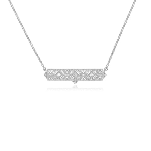 RIPKA Estate White Topaz Filagree Bar Necklace