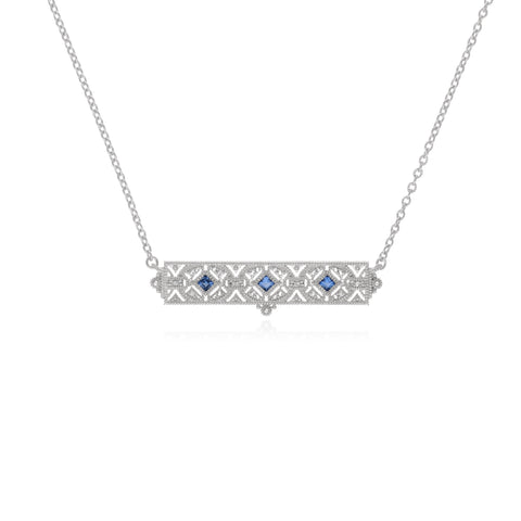 RIPKA Estate Synthetic Blue Sapphire & White Topaz Filagree Bar Necklace