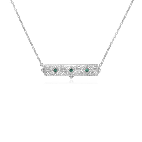 RIPKA Estate Synthetic Green Quartz & White Topaz Filagree Bar Necklace