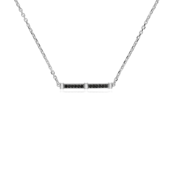 Estate Black Spinel Pavé Bar Necklace