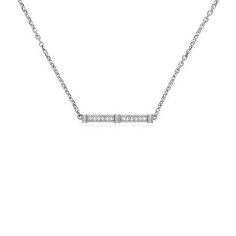 Estate White Topaz Pavé Bar Necklace