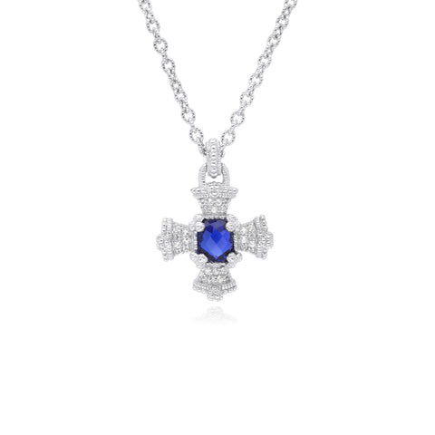 RIPKA Ambrosia Synthetic Blue Sapphire & White Topaz Maltese Cross Pendant