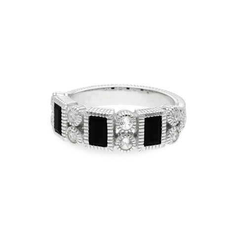 RIPKA Estate Ring with Black Onyx Vertical Baguettes & White Topaz Accents