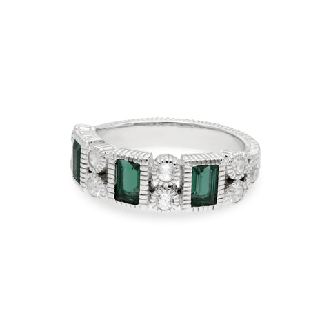 RIPKA Estate Ring with Green Quartz Vertical Baguettes & White Topaz Accents