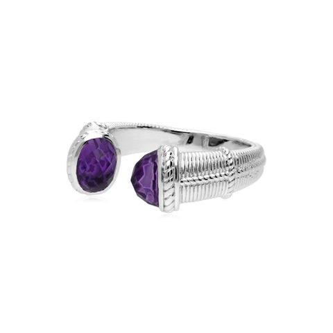 Estate Upside Down Ring with Amethyst Tips