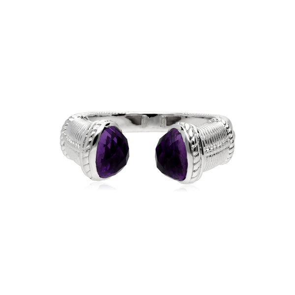 Little Luxuries Upside Down Ring with Amethyst Stones