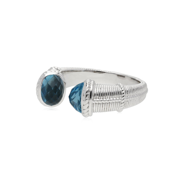 Little Luxuries Upside Down Ring with Swiss Blue Topaz Stones