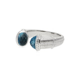 Estate Upside Down Ring with Swiss Blue Topaz Tips