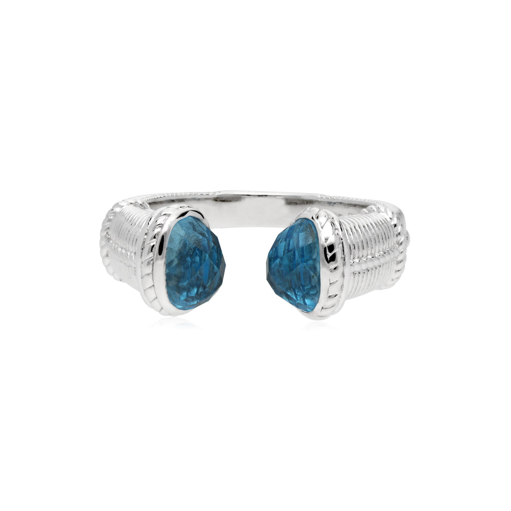 Little Luxuries Upside Down Ring with Swiss Blue Topaz Tips