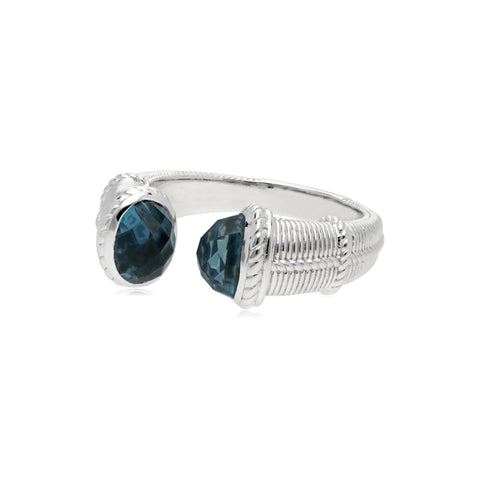 Estate Upside Down Ring with London Blue Topaz Tips