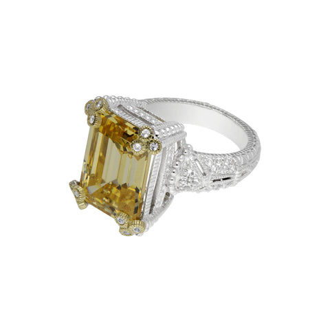 RIPKA Estate Emerald Cut Canary Crystal Ring with Gothic Prongs & White Topaz Accents