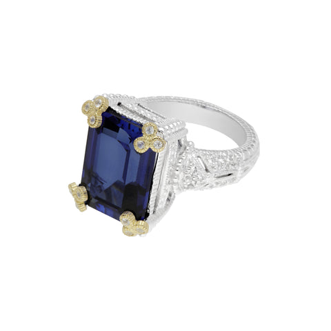 RIPKA Estate Emerald Cut Synthetic Blue Sapphire Ring with Gothic Prongs & White Topaz Accents