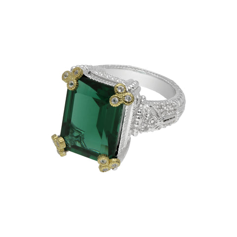 RIPKA Estate Emerald Cut Synthetic Green Quartz Ring with Gothic Prongs & White Topaz Accents