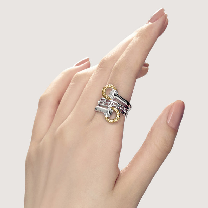 Vienna Bypass Ring with 18K Gold
