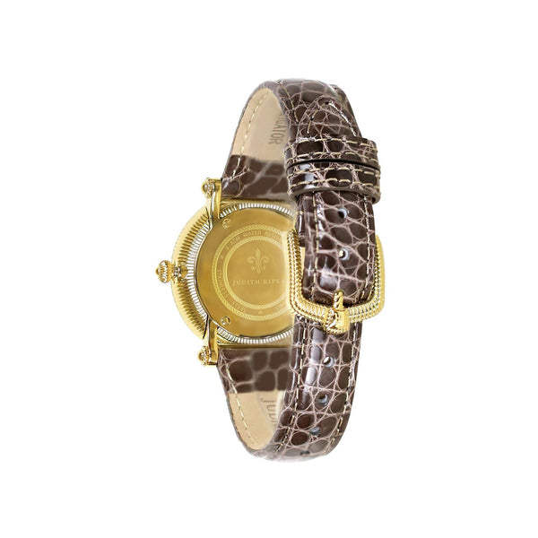 Judith Ripka Gold Tone Summit Watch with Genuine Light Brown Crocodile Strap