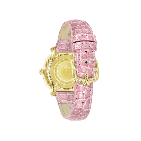 Judith Ripka Gold Tone Summit Watch with Genuine Pink Crocodile Strap