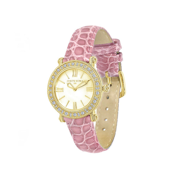 Judith Ripka Croco Embossed Pink Leather Gold Tone Summit Watch