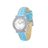 Judith Ripka Genuine Croco Green Leather Silver Tone Summit Watch