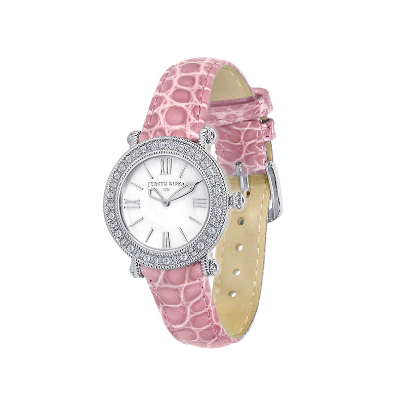 Judith Ripka Silver Tone Summit Watch with Genuine Pink Crocodile Strap