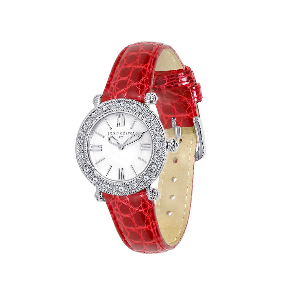 Judith Ripka Silver Tone Summit Watch with Genuine Red Crocodile Strap