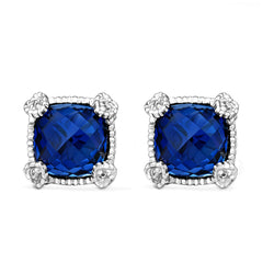 Little Luxuries Cushion Shape Synthetic Blue Sapphire & White Topaz Stud Earrings