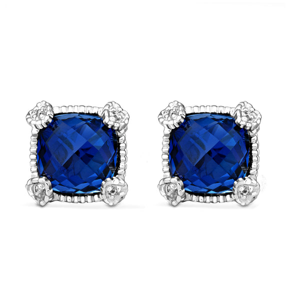 RIPKA La Petite Cushion Shape Synthetic Blue Sapphire & White Topaz Stud Earrings