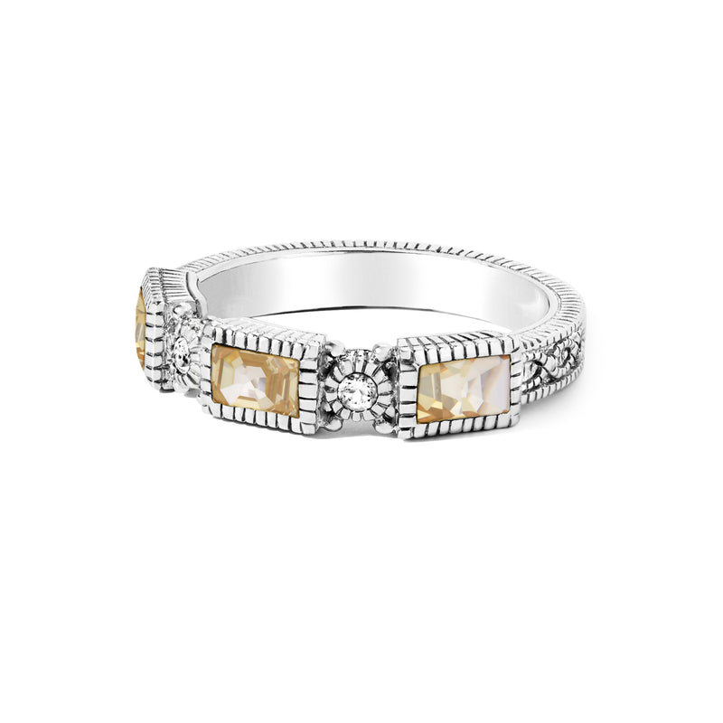 Estate Canary CZ & White Topaz Band Ring
