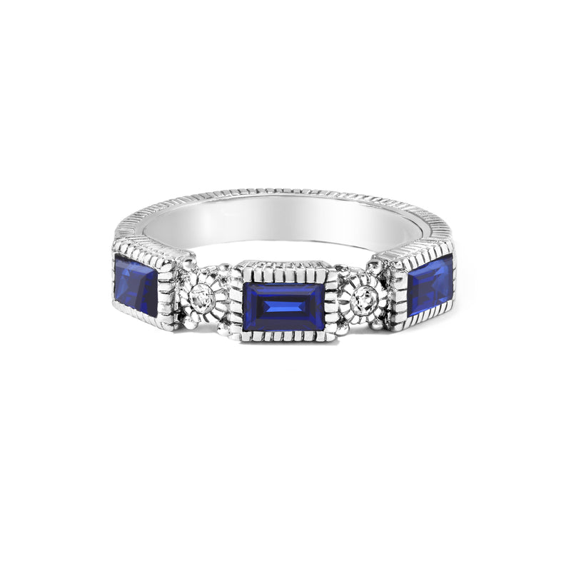 Estate Synthetic Sapphire & White Topaz Band Ring